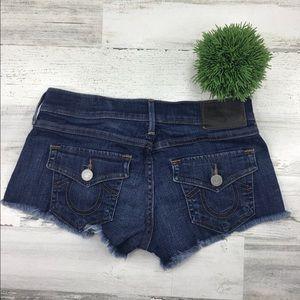 True Religion Blue Denim Shorts Size 25